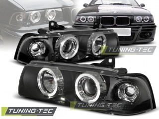 Koplamp set Bmw E36 12.90-08.99 Angel Eyes Zwart