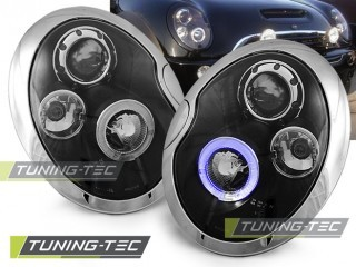 Koplamp set Bmw Mini (Cooper) 05.01-10.06 Angel Eyes Zwart