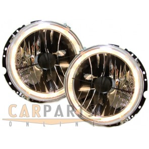 Volkswagen Golf 1 helder glas ANGEL EYES koplamp zwart met crosshair