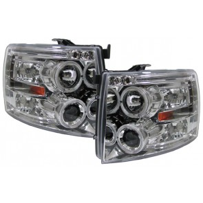 Chevrolet Silverado 2007-2010 helder glas ANGEL EYES koplamp chroom