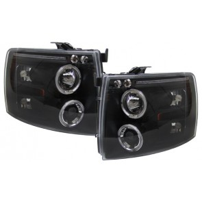 Chevrolet Silverado 2007-2010 helder glas ANGEL EYES koplamp zwart