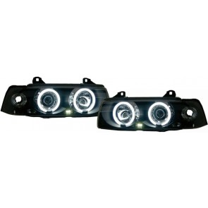 BMW E36 hatchback Touring CCFL ANGEL EYES koplamp zwart