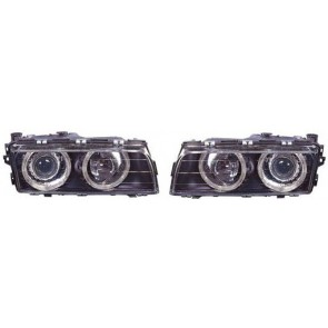 7 serie BMW E38 1994-1998 helder glas ANGEL EYES koplamp zwart
