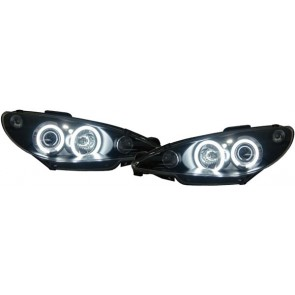 Peugeot 206 1998-2002 CCFL ANGEL EYES koplamp zwart
