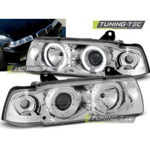 Koplamp set Bmw E36 12.90-08.99 Angel Eyes Chroom