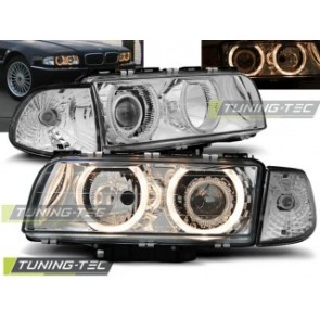 Koplamp set Bmw E38 06.94-08.98 H7/H7 Angel Eyes Chroom