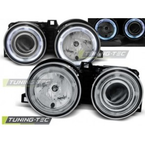 Koplamp set Bmw E30 11.82-06.94 Angel Eyes Chroom