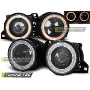 Koplamp set Bmw E30 11.82-06.94 Angel Eyes Zwart