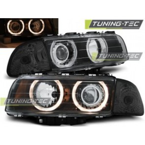 Koplamp set Bmw E38 06.94-08.98 H7/H7 Angel Eyes Zwart
