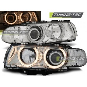 Koplamp set Bmw E38 09.98-07.01 H7/H7 Angel Eyes Chroom