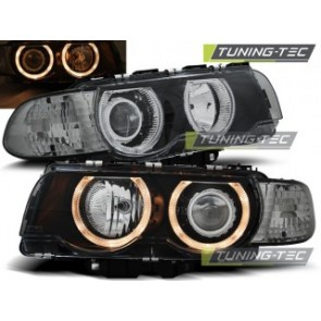 Koplamp set Bmw E38 09.98-07.01 H7/H7 Angel Eyes Zwart