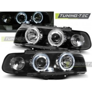 Koplamp set Bmw E38 06.94-08.98 Angel Eyes Zwart