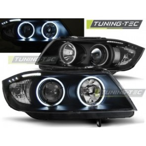 Koplamp set Bmw E90/E91 03.05-08.08 Angel Eyes Zwart Ccfl