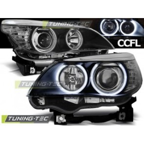 Koplamp set Bmw E60/E61 03-07 Angel Eyes Zwart