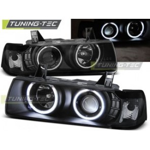 Koplamp set Bmw E36 12.90-08.99 C/C Angel Eyes Zwart