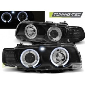 Koplamp set Bmw E38 09.98-07.01 Angel Eyes Zwart