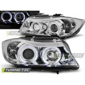 Koplamp set Bmw E90/E91 03.05-08.08 Angel Eyes Chroom