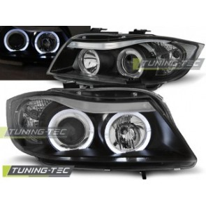 Koplamp set Bmw E90/E91 03.05-08.08 Angel Eyes Zwart