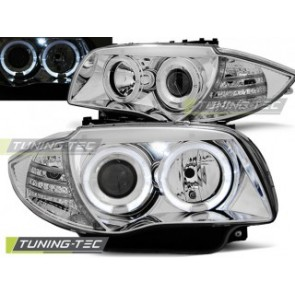 Koplamp set Bmw 1 E87 / E81 04-07 Angel Eyes Chroom