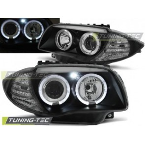 Koplamp set Bmw 1 E87 / E81 04-07 Angel Eyes Zwart
