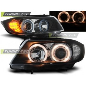 Koplamp set Bmw E90/E91 03.05-08.08 Angel Eyes Zwart LED knipperlicht