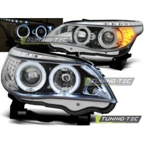 Koplamp set Bmw E60/E61 03-07 Angel Eyes Chroom LED Knipperlicht