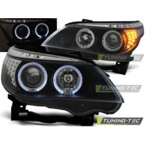 Koplamp set Bmw E60/E61 03-07 Angel Eyes Zwart LED knipperlicht