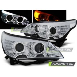 Koplamp set Bmw E60/E61 03-07 Chroom LED knipperlicht