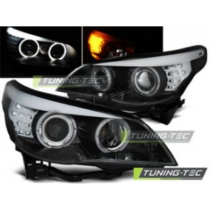 Koplamp set Bmw E60/E61 03-07 Zwart LED knipperlicht