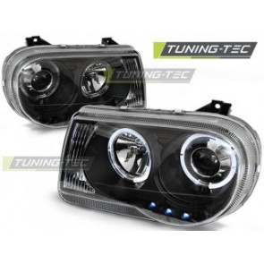 Koplamp set Chrysler 300 C 05-10 Angel Eyes Zwart