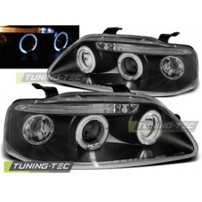 Koplamp set Chevrolet Aveo 03-06 Angel Eyes Zwart