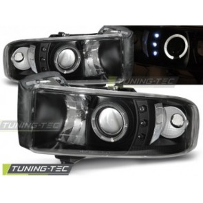 Koplamp set Dodge Ram 94-01 Angel Eyes Zwart