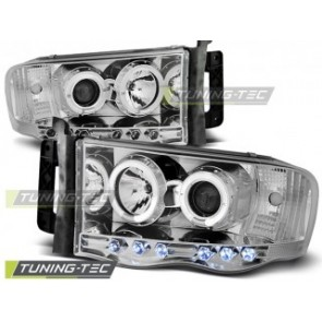Koplamp set Dodge Ram 02-06 Angel Eyes Chroom