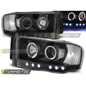 Koplamp set Dodge Ram 02-06 Angel Eyes Zwart