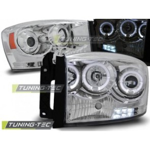 Koplamp set Dodge Ram 06-08 Angel Eyes Chroom