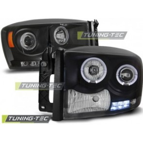 Koplamp set Dodge Ram 06-08 Angel Eyes Zwart