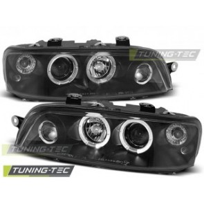 Koplamp set Fiat Punto 2 10.99-06.03 Angel Eyes Zwart