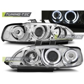 Koplamp set Honda Civic 09.91-08.95 4 D Angel Eyes Chroom