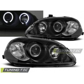 Koplamp set Honda Civic 03.99-02.01 Angel Eyes Zwart