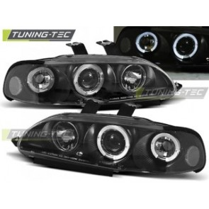 Koplamp set Honda Civic 09.91-08.95 4 D Angel Eyes Zwart