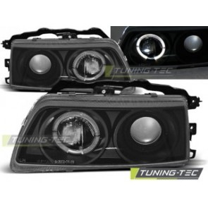 Koplamp set Honda Crx 09.87-89 Angel Eyes Zwart