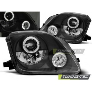 Koplamp set Honda Prelude 02.97-01 Angel Eyes Zwart
