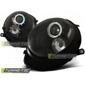 Koplamp set Bmw Mini (Cooper) 06- Angel Eyes Zwart