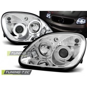 Koplamp set Mercedes R170 Slk 04.96-04 Angel Eyes Chroom