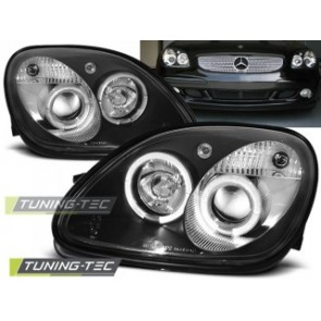 Koplamp set Mercedes R170 Slk 04.96-04 Angel Eyes Zwart