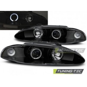 Koplamp set Mitsubishi Eclipse 06.95-96 Angel Eyes Zwart