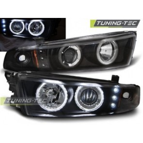 Koplamp set Mitsubishi Galant 8 (Ea0) 96-06 Angel Eyes Zwart Ccfl