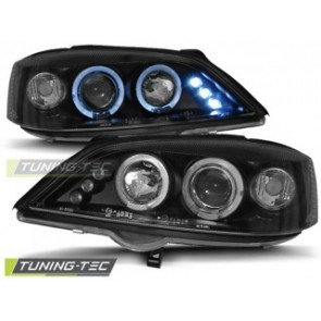 Koplamp set Opel Astra G 02.98-02.04 Angel Eyes Zwart