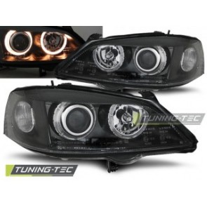 Koplamp set Opel Astra G 09.97-02.04 Angel Eyes Zwart