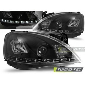 Koplamp set Opel Corsa C 11.00-09.06 Daylight Zwart